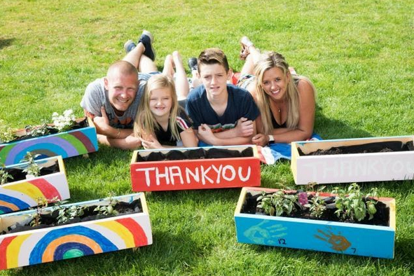 The Peart family donated planters to essential workers
