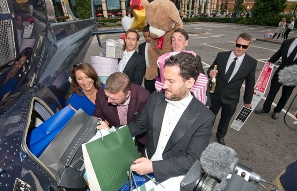 EuroMillions winners go shopping in helicopter