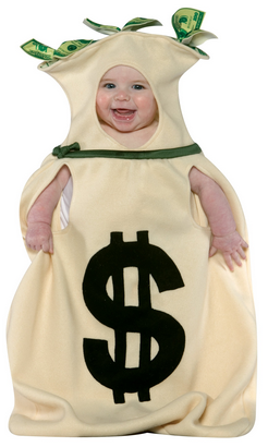 baby in money bag