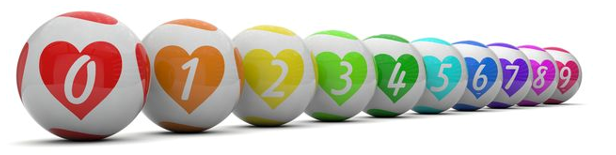 lottery balls with hearts on them