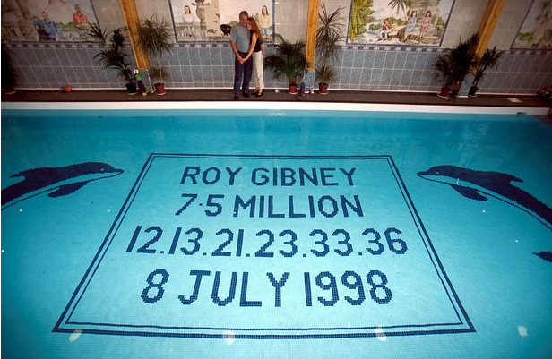 Roy Gibney's lottery winning numbers in pool