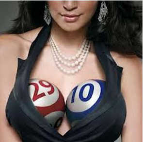 Woman with lottery ball chest