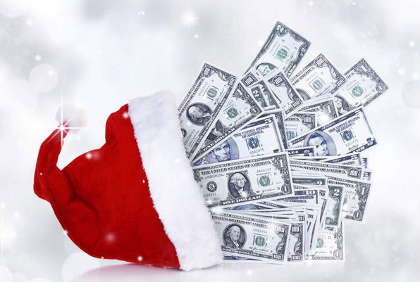 Santa hat with Online Lottery Cash